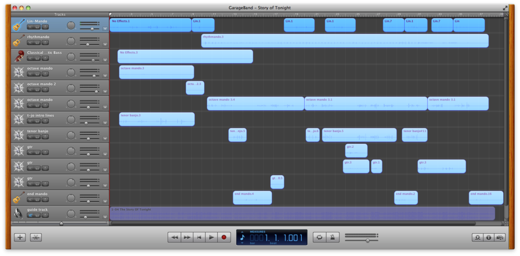 screenshot of the GarageBand file for this track
